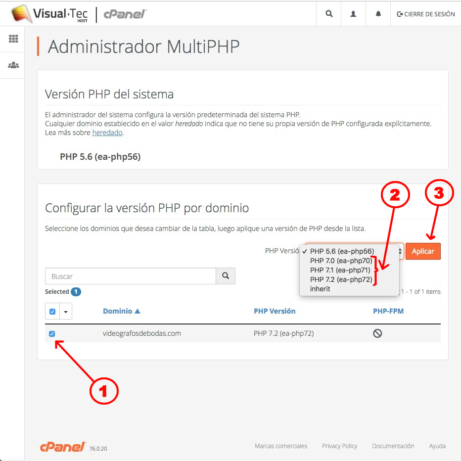 cPanel > MultiPHP 2